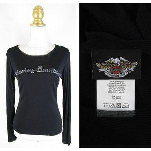 Harley Davidson Solid Black Mesh Logo Top Shirt XS
